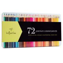 Brilliant Bee Premium Colored Pencils for Adults, Oil Based with Metal Case, 72 Count