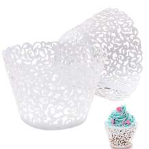 100pcs white, Cupcake Wrappers Lace Cupcake Liners Laser Cut Cupcake Papers Cupcake Cups Cases for Wedding/Birthday Party Decoration