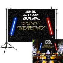 Allenjoy 7x5ft Happy Birthday Theme Backdrop Star Black Sky Universe Wars Blue and Red Lightsaber Photography Background Boy Baby Shower Party Decoration Supplies Banner Photo Booth Props
