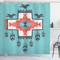 """Ambesonne Tribal Shower Curtain, Hand Drawn Dreamcathcher Folkloric Birds Image, Cloth Fabric Bathroom Decor Set with Hooks, 70"""" Long, Teal Coral"""