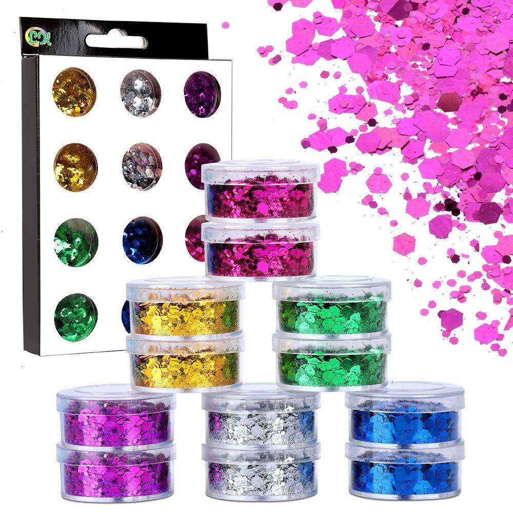 Chunky Glitter, YGDZ 12 Box Holographic Face Body Eye Hair Nail Festival Chunky Glitter Sequins, 6 Colors Hexagon Tips