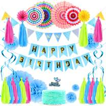 KIMHY Birthday Decorations Kit, Party Decorations with Blue Gold Happy Birthday Banners, Pom Pom flowers, Fan Paper Garland, Tassels, Hang Swirl for Birthday, Baby Shower, Wedding, Graduation Party