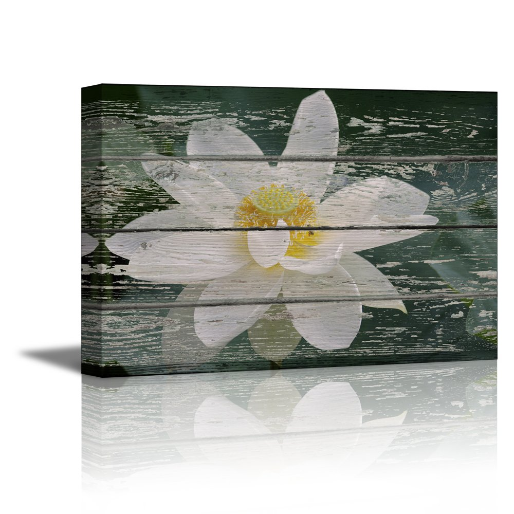 """wall26 - Canvas Prints Wall Art - White Lotus Flower in Water on Vintage Wood Background Rustic Home Decoration - 32"""" x 48"""""""