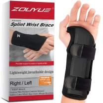 Carpal Tunnel Wrist Brace, Night Sleep Wrist Support, Removable Metal Wrist Splint for Men, Women, Tendinitis, Bowling, Sports Injuries Pain Relief - Left