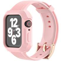 JIEBAO Compatible with Apple Watch Bands Women/Men 38mm 40mm 42mm 44mm, Compatible for Iwatch Band with Case Series 6/5/4/3/2/1/SE Sport Loop, Rugged Protective Case and Band (Pink Sand-42mm/44mm)