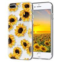 iPhone 7 Plus case, iPhone 8 Plus case, AIKIN Simply Designed Flower Pattern Case Soft TPU Flexible Case Shockproof Protective Cute Case for iPhone 7 Plus, iPhone 8 Plus (Sunflower+ Clear)