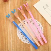 WIN-MARKET Animal Lovely Long Ears Gel Ink Pen Cute Kawaii Black Writing Pens Ballpoint Black Ink Gel Pen Party Gift Gel Ink Pens Funny School Stationery Office Supplies(8PCS)