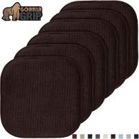 Gorilla Grip Original Premium Memory Foam Chair Cushions, 6 Pack, 16x16 Inch, Thick Comfortable Seat Cushion Pad, Large Size, Slip Resistant, Durable Soft Mat Pads for Office, Kitchen Chairs, Brown