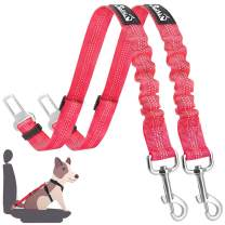 SlowTon Dog Seat Belt, 2 Pack Adjustable Pet Car Seatbelt Elastic Bungee Buffer Heavy Duty Reflective Nylon Safety Belt Connect to Dog Harness in Vehicle Travel Daily Use