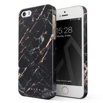 BURGA Phone Case Compatible with iPhone 5 / 5s / SE - Black Rose Gold Marble Meteor Shower Cute Case for Girls Thin Design Durable Hard Shell Plastic Protective Case