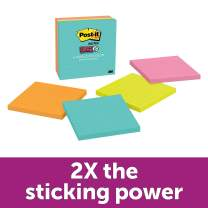 """Post-it Super Sticky Notes, 2x Sticking Power, 4"""" x 4"""", Miami Collection, 4 Pads per Pack, 90 Sheets per Pad, Lined (675-4SSMIA)"""