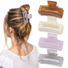 Canitor 4 PCS Hair Clips for Women, Hair Claw Clips Acrylic Hair Clips Banana Jaw Clips Hair Clips Fashion Hair Clips for Thin Hair Barrettes Claw Hair Clips(Jelly Purple, Jelly Gray, Jelly Brown, White )