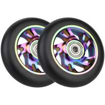VOKUL 2pcs 100mm Replacement Pro Scooter Wheels with ABEC-9 Bearing, Complete 2pcs