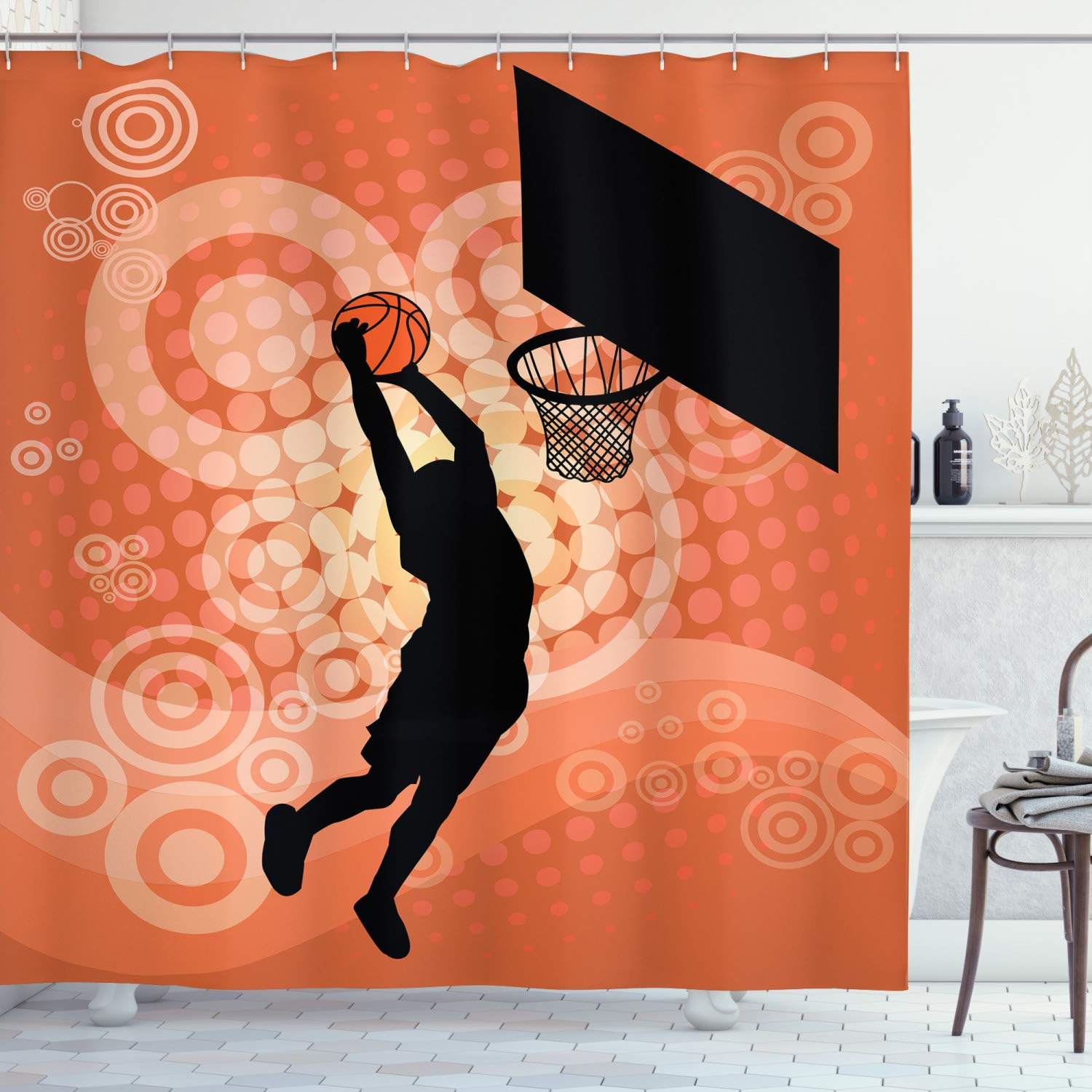 """Ambesonne Basketball Shower Curtain, Basketball Player Silhouette Athlete Competition Championship, Cloth Fabric Bathroom Decor Set with Hooks, 70"""" Long, Orange Black"""