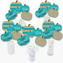 Big Dot of Happiness Teal Pumpkin - Halloween Allergy Friendly Trick or Trinket Centerpiece Sticks - Table Toppers - Set of 15