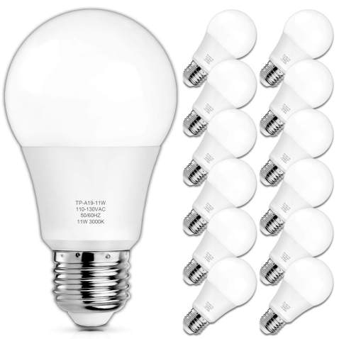 A19 Led Light Bulbs 100 Watt Equivalent Led Bulbs 3000k Soft White 1100 Lumens Standard E26 Medium Screw Base Cri 85 25000 Hours Lifespan No Flicker Non Dimmable Pack Of 12