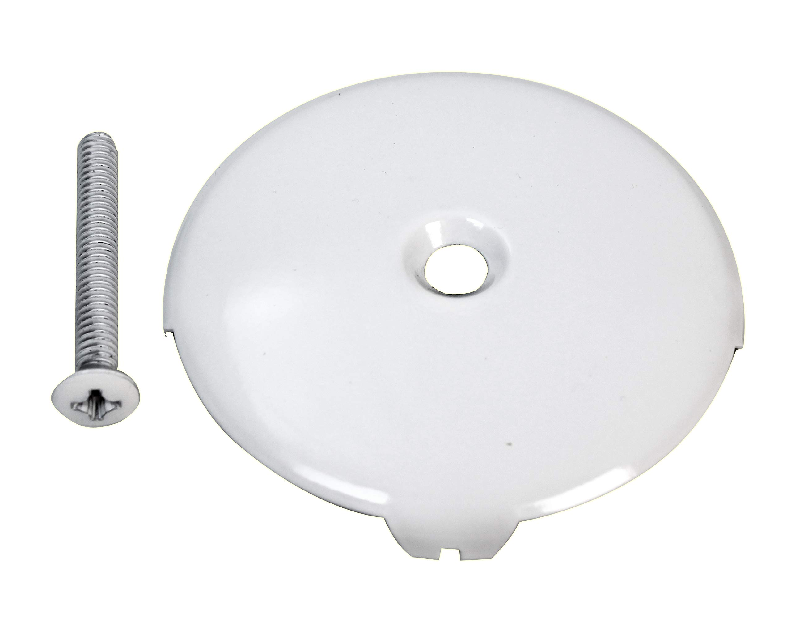 Westbrass D328-50 One Hole Tub Overflow Faceplate with Screw, Powder Coat White