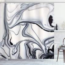 """Ambesonne Marble Shower Curtain, Trippy Mix of Colors with Unusual Forms Creative Paintbrush Style Image, Cloth Fabric Bathroom Decor Set with Hooks, 70"""" Long, Grey Ivory"""