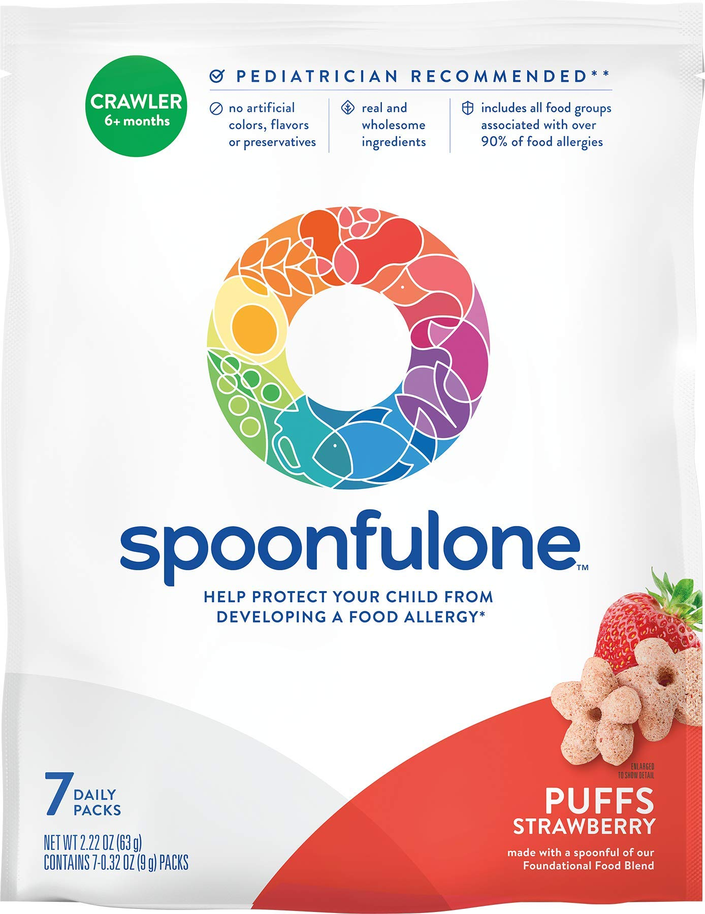 SpoonfulOne Allergen Introduction Puffs | Protection For Kids From Developing a Food Allergy | Snack for an Infant or Baby 6+ Months | Certified Organic (Strawberry - 7 Pack)