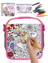 Purple Ladybug Color Your Own Messenger Bag For Girls with Mermaid Design! Includes 10 Bright Markers & a Bonus Pencil Case with Unicorn Design! Fun Arts & Crafts Activity Kit for Kids, Cute Girl Gift