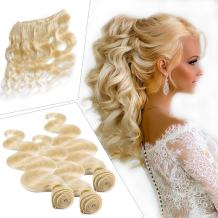 Grade 7A Bleached Blonde 613# Brazilian Remy Human Hair Double Weft Body Wave 3 Bundles of 14 inch Long Hair Extensions for American Women 300g/pack