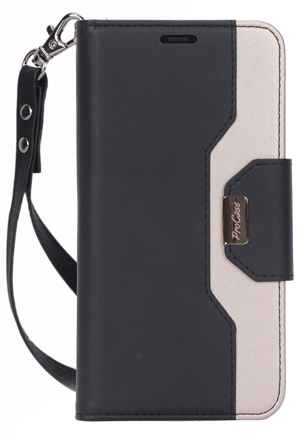 Procase iPhone 11 Pro Max Wallet Case for Women Girls, Folding Flip Case with Card Holder Wrist Strap for iPhone 11 Pro Max 6.5 Inch 2019 –Black