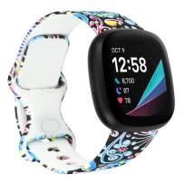 Compatible with Fitbit Sense/Fitbit Versa 3 Bands for Women, Patterned Watch Bands Accessories Strap Replacement for Versa 3 / Sense Small Large