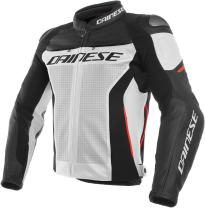 Dainese Men's Racing 3 Perf. Leather Jacket (White/Black/Red, 46)