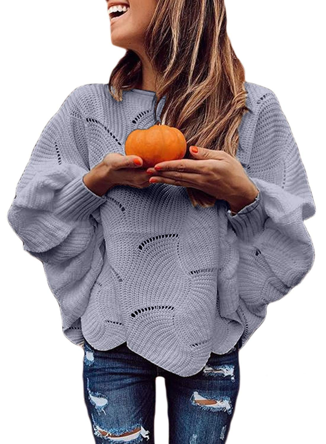 Dearlovers Womens Batwing Long Sleeve Boat Neck Knit Oversized Casual Pullover Sweaters Top