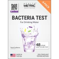 Coliform Bacteria Test Kit for Drinking Water - Easy to Use 48-Hour Water Quality Testing Kit for Home Tap & Well Water | EPA Approved Testing Method | Made in The USA | Incl. E Coli | 4-Pack