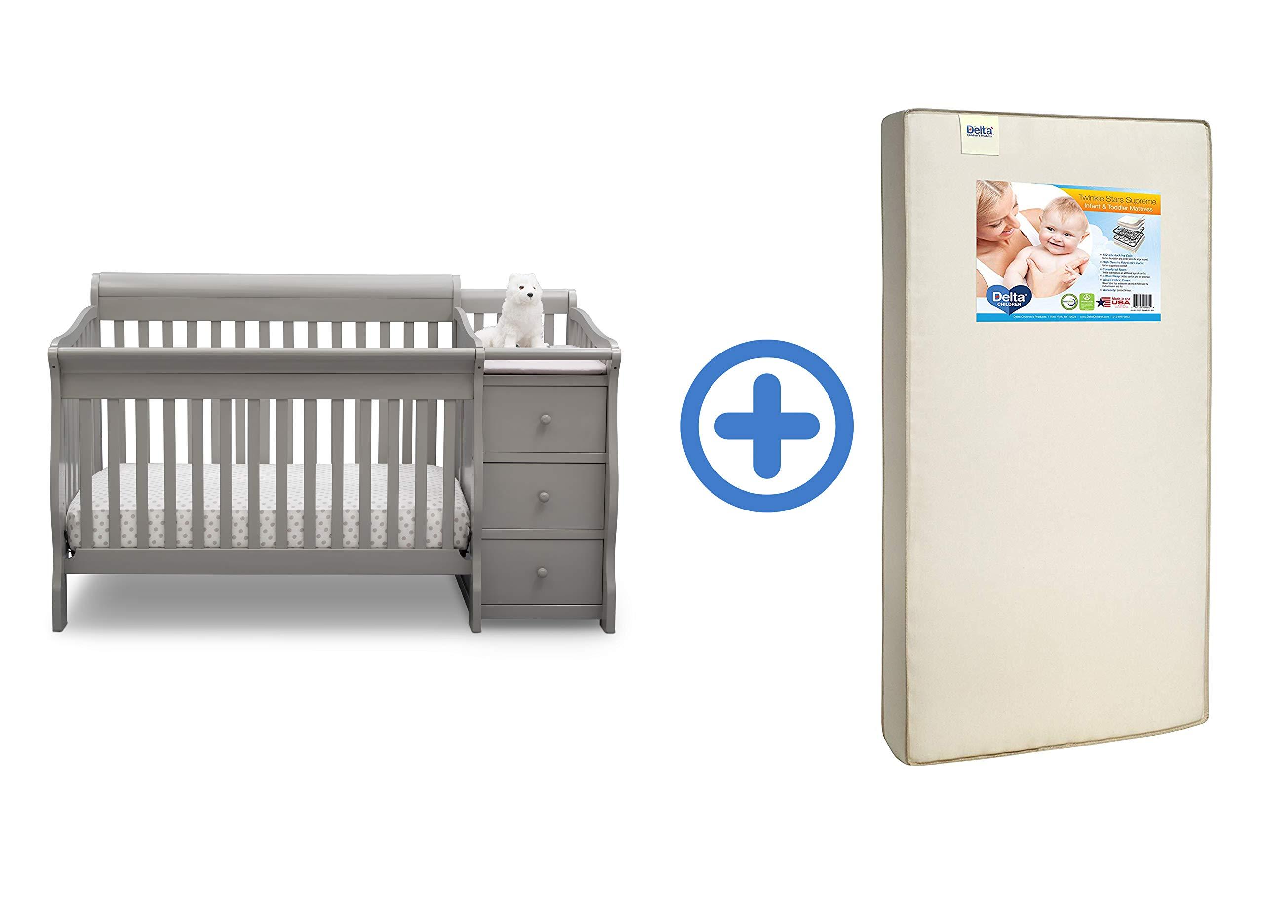 Delta Children Princeton Junction Convertible Crib N Changer, Grey with Twinkle Stars Supreme Crib and Toddler Mattress