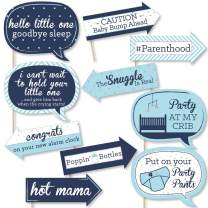 Big Dot of Happiness Funny Blue and Silver - Hello Little One - Boy Baby Shower Photo Booth Props Kit - 10 Piece