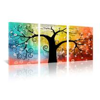 """JAPO ART Colorful Lucky Tree Painting Canvas Wall Art Abstract Contemporary Giclee Prints for Home on Wall Canvas for Living Room Decoration 16""""x24"""" x3pcs"""