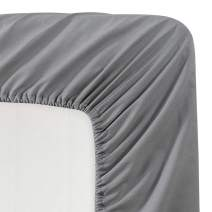 BASIC CHOICE Solid Color Microfiber Queen Deep Pocket Fitted Sheet, Charcoal