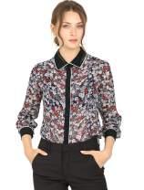 Allegra K Women's Floral Button Shirt Long Sleeve Contrast Color Top