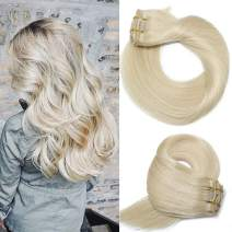 Human Hair Extensions Clip In Blonde New Version Thickened Double Weft Brazilian Hair 120g 7pcs Per Set 9A Remy Hair Full Head Silky Straight 100% Human Hair Clip on Extensions(18 Inch #60)