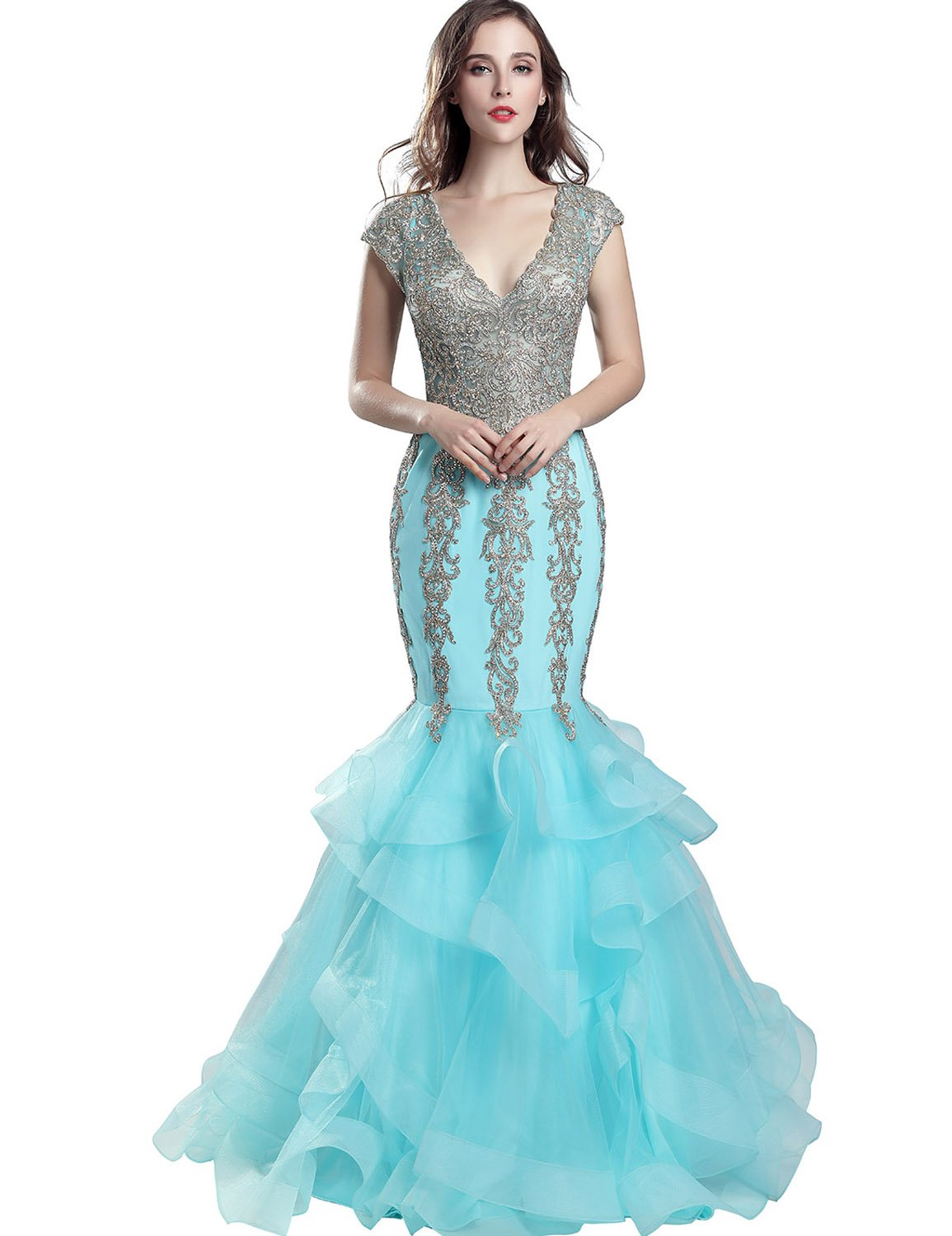 Sarahbridal Women's V-Neck and V-Back Prom Evening Dresses Sequin Formal Mermaid Pageants Party Gowns