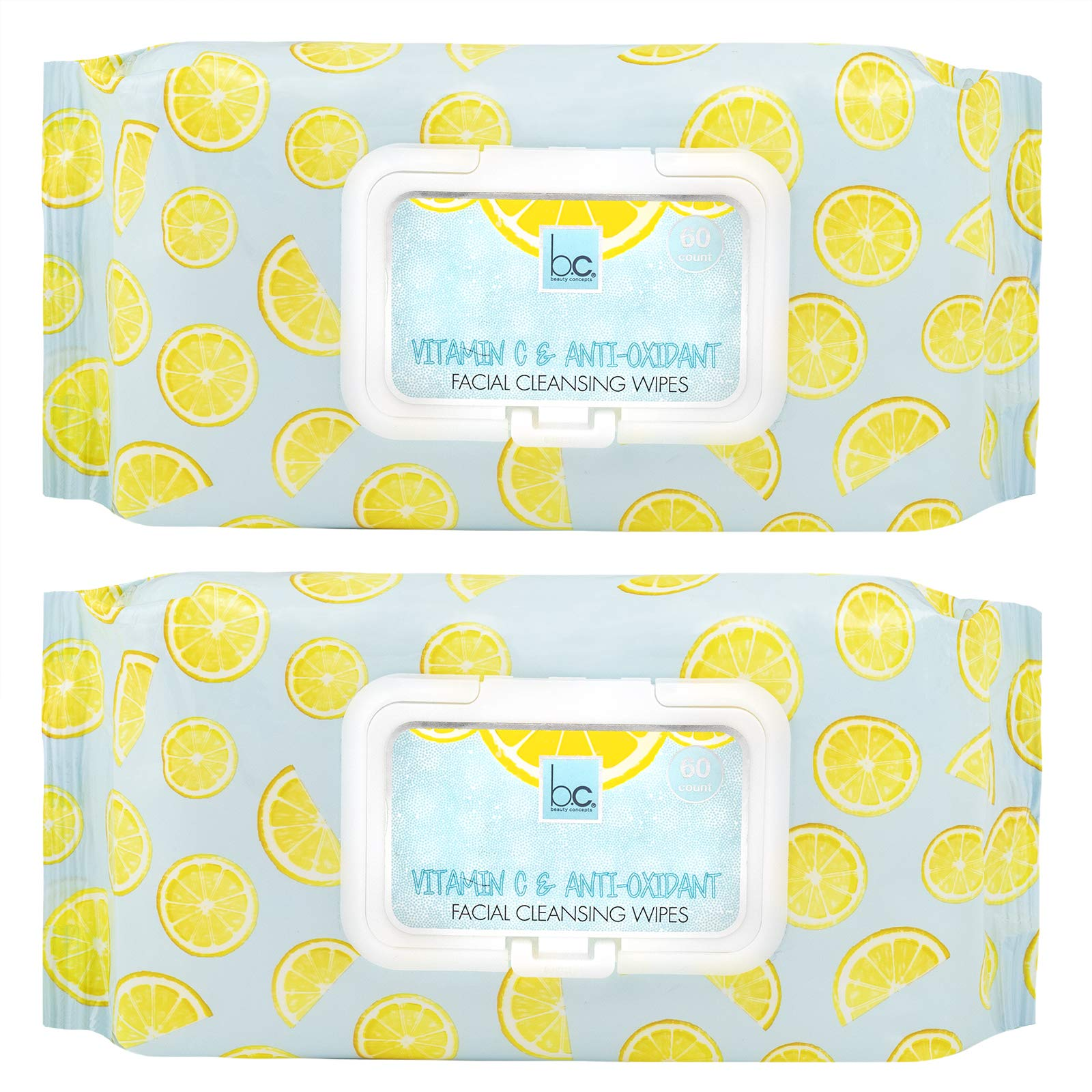 Beauty Concepts - 2 Pack (60 Count Each) Citrus Facial Cleansing Wipes with Vitamin C