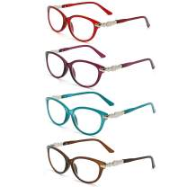 Reading Glasses Women - 4 Pack Stylish Readers - Spring Hinge Designer Ladies Fashion Reading Glasses - Bright Colors