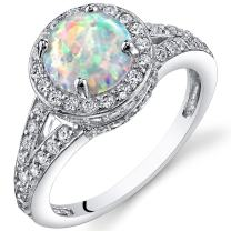 Peora Created White Opal Ring in Sterling Silver, Vintage Halo Design, Round Shape, 7mm, 1.25 Carats, Sizes 5 to 9