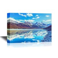 wall26 - Beautiful Nature Landscape/Scenery Canvas Wall Art - Rocky Peaks of The Glacier National Park, Montana, USA - Gallery Wrap Modern Home Decor | Ready to Hang - 24x36 inches