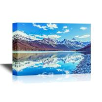 wall26 - Beautiful Nature Landscape/Scenery Canvas Wall Art - Rocky Peaks of The Glacier National Park, Montana, USA - Gallery Wrap Modern Home Decor   Ready to Hang - 24x36 inches