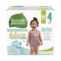Seventh Generation Baby Diapers, Sensitive Protection, Size 4, 64 count