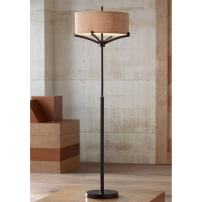 Tremont Mid Century Modern Floor Lamp Deep Bronze Tan Burlap Drum Shade for Living Room Reading Bedroom Office - Franklin Iron Works