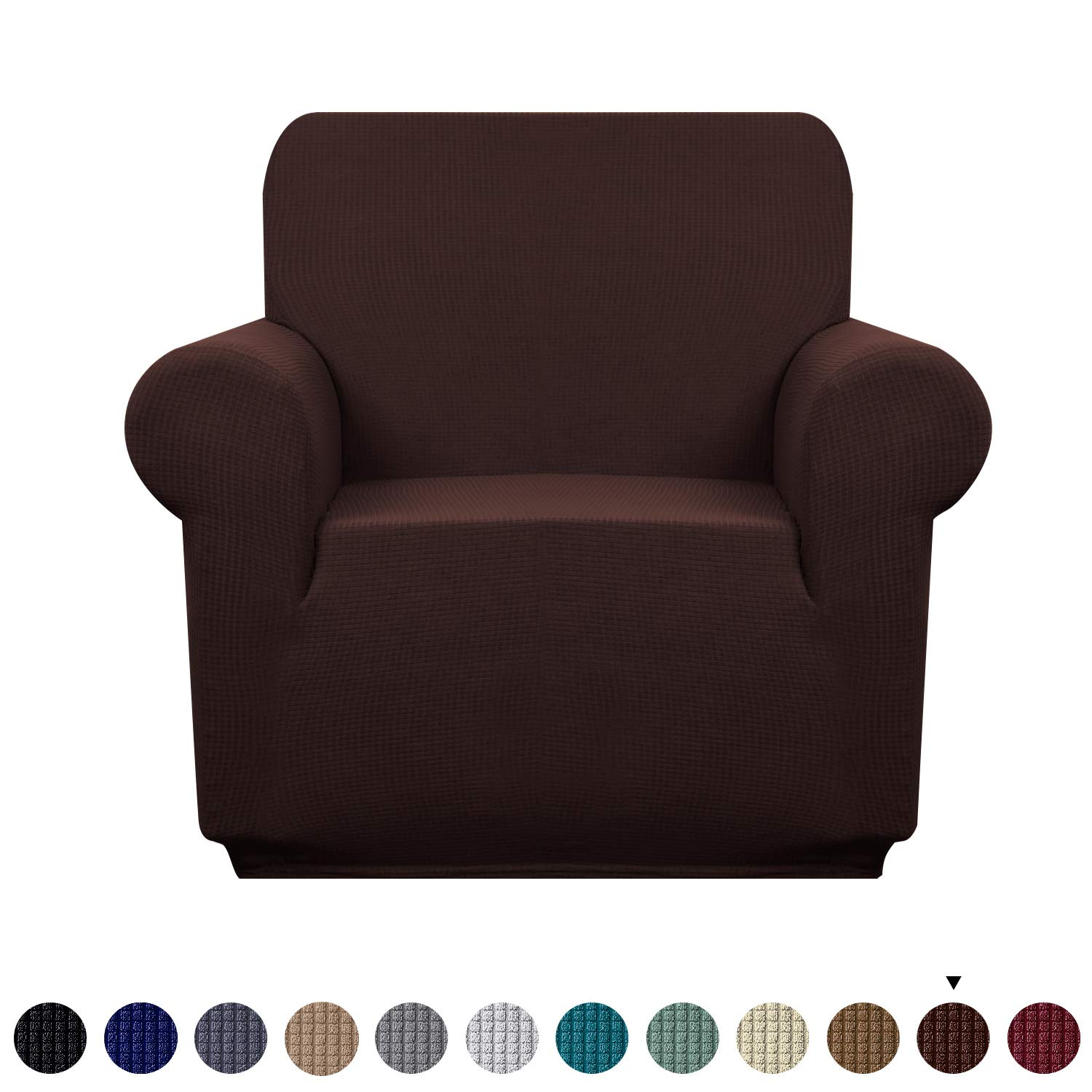 Granbest Premium Water Repellent Sofa Cover High Stretch Couch Slipcover Super Soft Fabric Couch Cover (Chocolate, Chair)