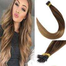 LaaVoo 18 Inch Long Remy Nano Loops Human Hair Extensions Balayage Color Darkest Brown to Ash Brown with Golden Blonde Nano Stick Tips Straight Hair 1g/s 40g+10g for free,50g/pack in Total