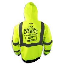 KwikSafety (Charlotte, NC) AVIATOR Class 3 Fleece Drone Hoodie Premium (No Fuzz Balls or Lint) Durable Zipper Construction Work Wear Hi Vis Reflective ANSI Compliant OSHA Approved Safety Jacket 2XL