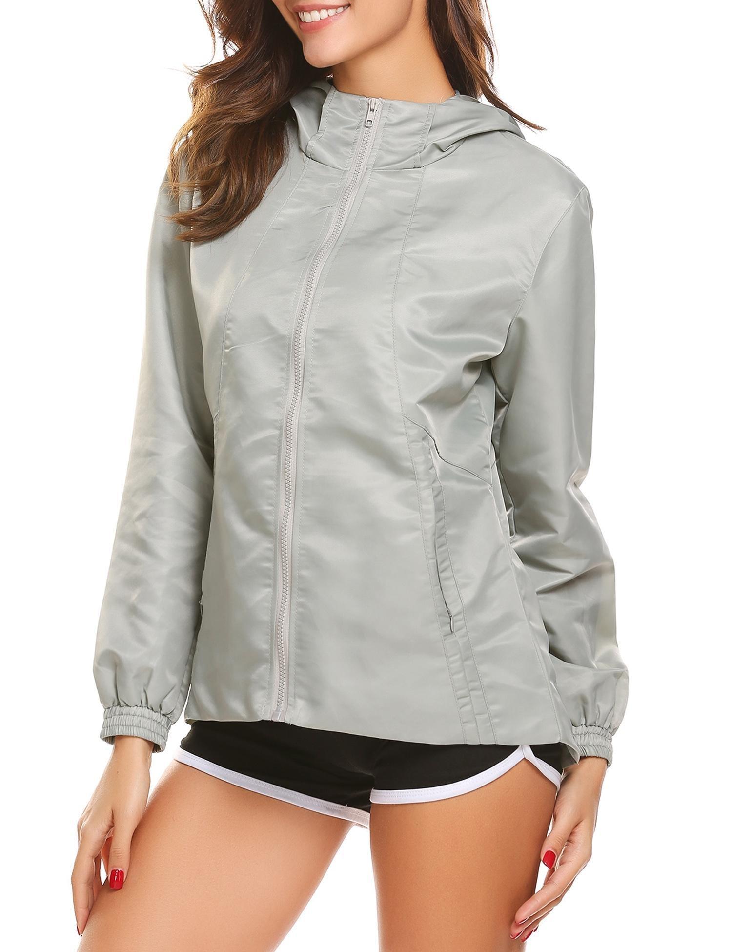 Zeagoo Women Waterproof Lightweight Rain Jacket Anorak Active Outdoor Hoodie Coats