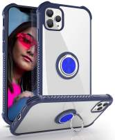DAUPIN iPhone 11 Pro Max Case, iPhone 11 Pro Max Clear Case with 360 Rotatable Ring Kickstand Metal Car Mount Hard PC Air Cushion Protective Soft TPU Bumper Phone Cover for iPhone 11 Pro Max (Blue)