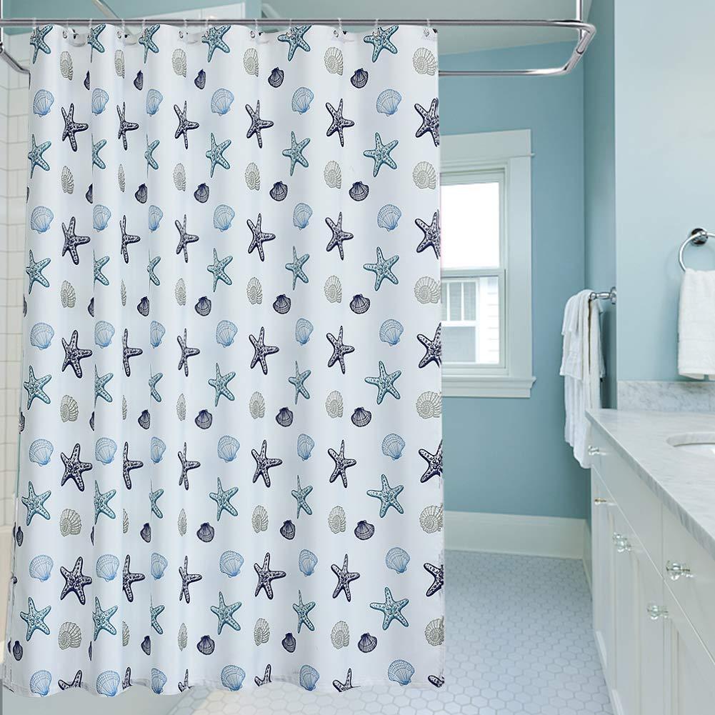 "oremila Bathroom Shower Curtain 72"" x 72"" Seashell Starfish Multi-Color Shower Curtains Fabric Bathroom Curtain Durable Water Repellent Bath Curtain,1pcs"